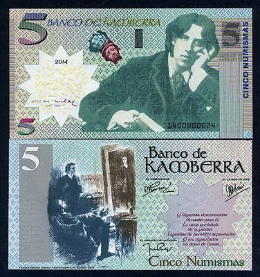 Kamberra, 5 Numismas, 2017, UNC Oscar Wilde Upgraded