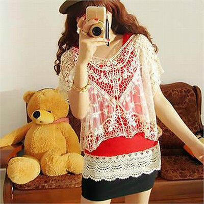 Womens Sexy Fashion Sweet Cute Sheer Lace Flower Tops Batwing Loose Blouse Shirt