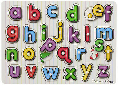 Melissa & Doug SEE INSIDE WOODEN PEG PUZZLE/JIGSAW ALPHABET Toddler Toy/Gift BN