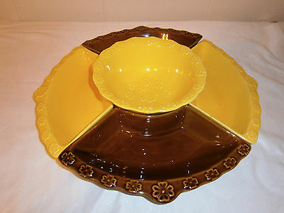 Vintage California Pottery Chip and Dip Set