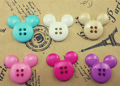 NEW 30PCS Mix Cute Mickey Plastic Button Fit Sewing or Scrapbook 21mm#R3