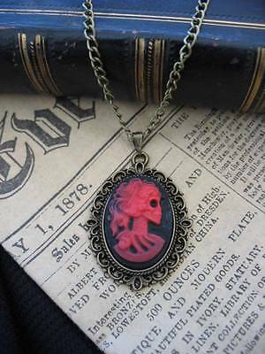 Gothic Steampunk Skull Skeleton Lady Cameo Pendant Bronze Necklace Red Halloween