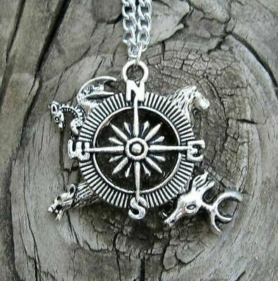 GOT Compass Pendant & Necklace Lannister Baratheon Stark Targaryen