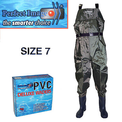 Perfect Image Size 7 Pvc Deluxe Overall Waders Fishing Flounder Prawning Boating