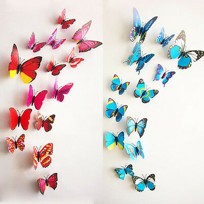 12Pcs 3D Butterfly Sticker Art Design Decal Wall Party Home Decor Decorations