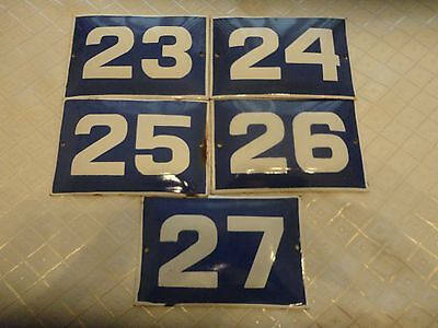 Vintage Original Enamel House Number Blue - white 23,24,25,26,27