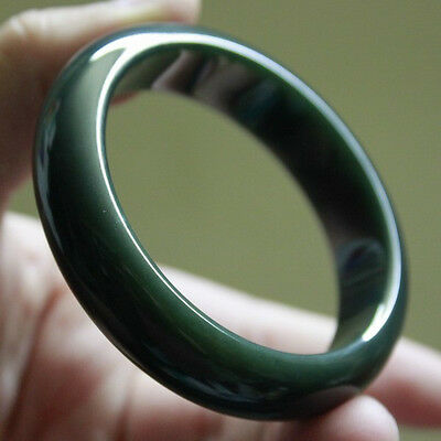 100% Natural (Untreated) A Grade Hetian Dark Green JADE Bangle #B044 新疆和田深墨绿色玉手镯