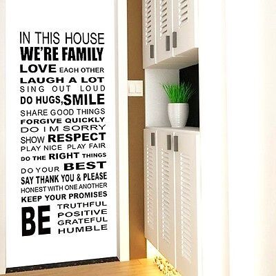 Quote We are Family In This House Rule Love Laugh A Lot Wall Sticker Decal Decor