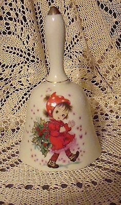 """Vintage  """"Lefton""""  Little Girl in Red Collectible Bell"""