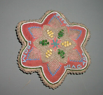 "Antique Beadwork pin cushion ""From Niagra Falls"" Iroquois Native American"