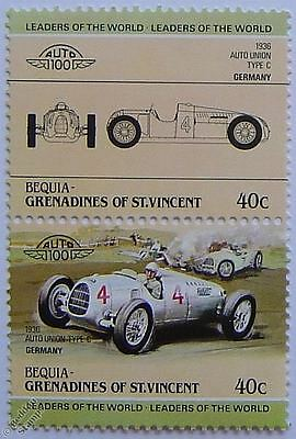 1936 AUTO UNION TYPE C Car Stamps (Leaders of the World / Auto 100)