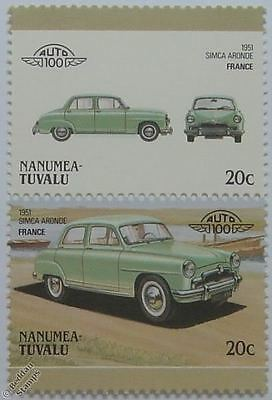 1951 SIMCA ARONDE Car Stamps (Leaders of the World / Auto 100)