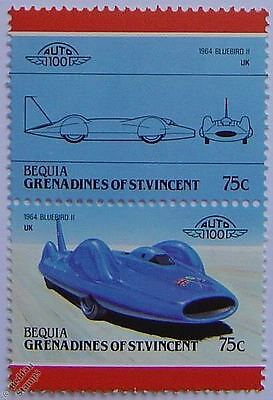 1964 Donald Campbell BLUEBIRD II Car Stamps (Leaders of the World / Auto 100)