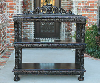 Antique French Dark Oak Gothic Lion's Mask 3-Tier Server Buffet Sideboard 19th C