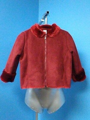 62222 Gymboree - Dark Red Soft Shearling Sheep FAUX FUR Girl's Coat Jacket SZ L