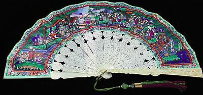 MAGNIFICENT QING DYNASTY, MID-19TH C.  CHINESE CANTONESE 1000 FACES FAN W/ BOX