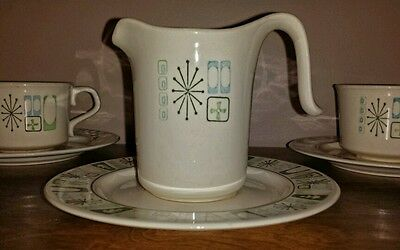 Taylor Smith Taylor Cathay creamer and saucer. Atomic dish pattern.