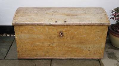 Very large Victorian  dome top pine  blanket box, hand decorated,  dated 1870