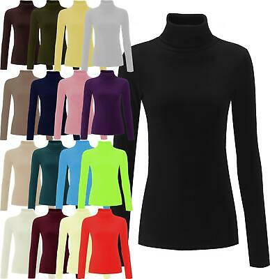 Ladies Plain Ribbed Cotton Polo Turtle Roll Neck Tunic Top Jumper Full Sleeve