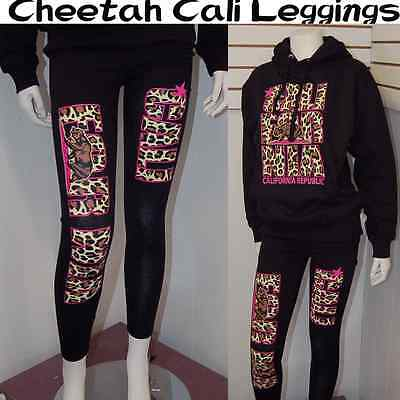 New & Cute California Republic Cali Pink Cheetah Leggings Stretch,Black Sz L