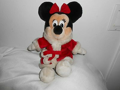 DISNEY   PLUSH MINNIE MOUSE disneyland vintage parks christmas red 14""