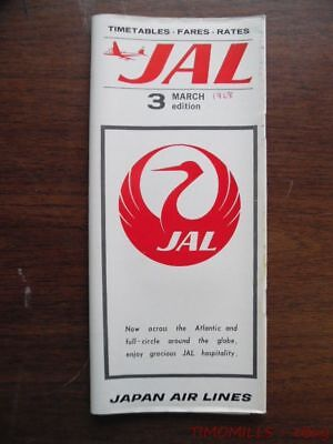 1968 Japan Air Lines JAL Airline Timetable 3 Edition Effective March Vintage