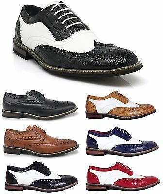 Parrazo Men Dress Shoes Wingtip Oxford Leather Line Lace Up Formal Church Conrad