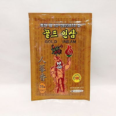 1 pack 25 sheets Gold Ginseng Plaster Pads Tape Healthful Patch Help pain relief