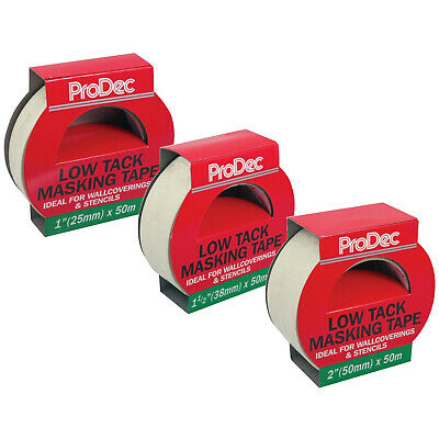 ProDec Low Tack Masking Tape 50 Metre Roll - 3 Widths Available 25mm 38mm & 50mm
