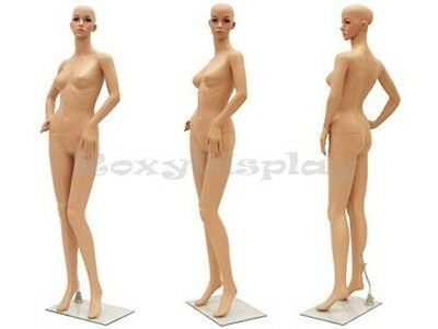 Female Unbreakable Plastic Mannequin Display Head Turns Dress Form G8+Free Wig