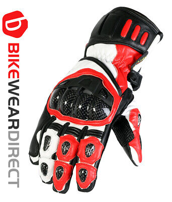 Leather Motorcycle Motorbike Biker Gloves Red Black CE Knuckle Armour Protection