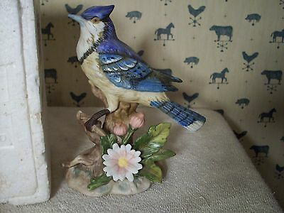 HOME INTERIOR  HOMCO  BLUE JAY BIRD FIGURINE # 1455 IN BOX  L@@K