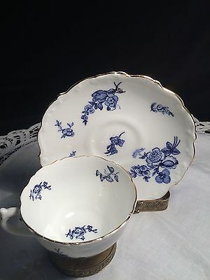 Vintage Coalport Bone China Teacup and Saucer Blue and White