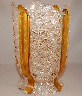 "RARE EAPG Amberette  Pressed Glass w/Amber ""Stripe"" Spooner/Celery Holder"