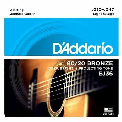 D'Addario EJ36 12-String 80/20 Bronze Light Acoustic Guitar Strings  10 - 47