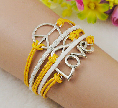 Love Peace infinity Antique Silver Leather Cute Frinedship Charm Bracelet B611