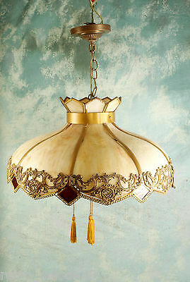 RARE Antique Slag Stained Glass Hanging Lamp 3 Edison Bulbs Tiffany Style