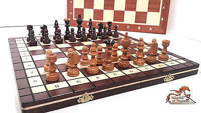 "Large ""unique"" Great Cherry Wooden Chess Set Hand Crafted Pieces & Chessboard!!!"
