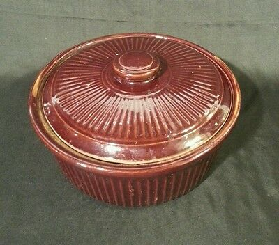 Vintage USA pottery Covered Casserole Dish/bean pot