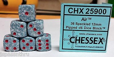 CHESSEX 12mm SPECKLED DICE BACK IN STOCK - *AIR* with RED PIPS! SMALL SIZE!
