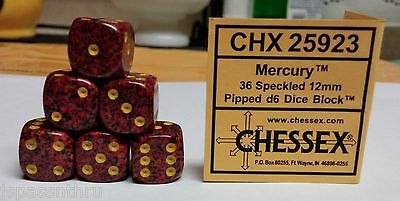CHESSEX 12mm SPECKLED DICE BACK IN STOCK - MERCURY with YELLOW PIPS! SMALL SIZE!