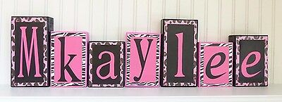 Name Blocks, Wood Letter Blocks, Hot pink and black - Home Decor, zebra