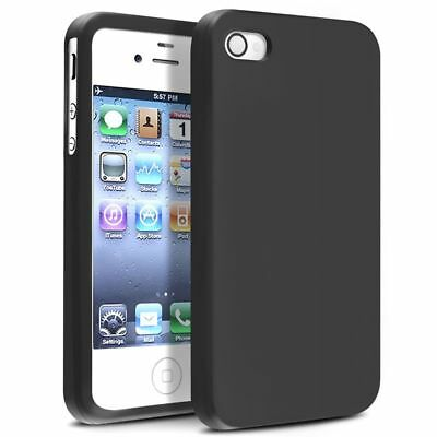 For Apple iPhone 4 4S G OS Black Silicone Rubber Soft Skin Case Cover
