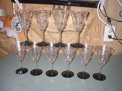 SET OF 10 VINTAGE ETCHED GLASS LILY OF THE VALLEY  BLACK FOOTED GLASSES STEMWARE