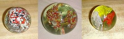Lot of 3 Vintage Colorful Glass Paperweights