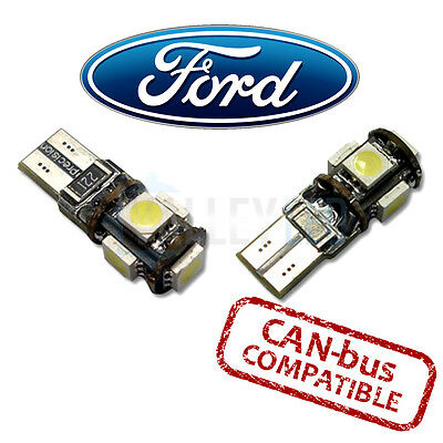 FORD Bright Canbus LED Side Light 501 W5W T10 5 SMD White Bulbs