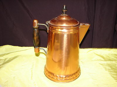 """COPPER KETTLE MADE BY STAMPING WORKS. 10 1/2"""" TALL"""