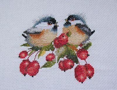 "New completed finished cross stitch "" Berry chick chat "" 14Ct white fabric dmc"
