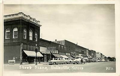 Kansas, KS, Belleville, Street Scene 1952 Real Photo Postcard