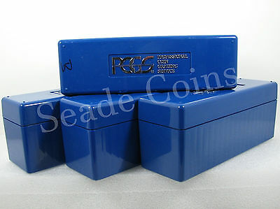 4 PCGS Boxes - Each holds 20 coins, PCGS Blue Storage Boxes - Used (please read)